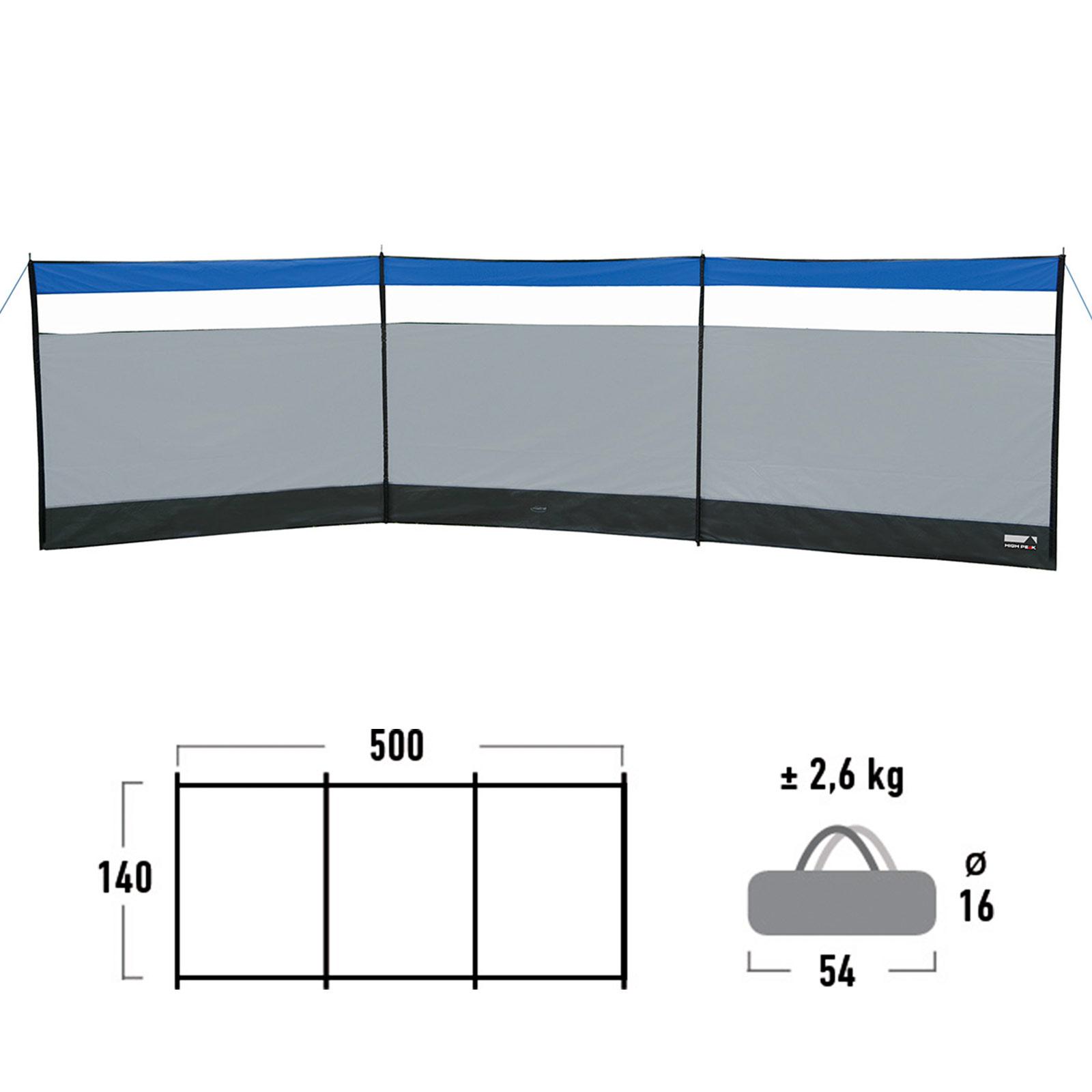 HIGH PEAK Windschutz Mistral 500 x 140 cm Camping Sichtschutz
